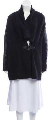 Ralph Lauren Leather-Trimmed Knit Cardigan