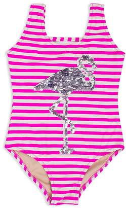 Shade Critters Girls' Striped Sequined-Flamingo Swimsuit - Little Kid