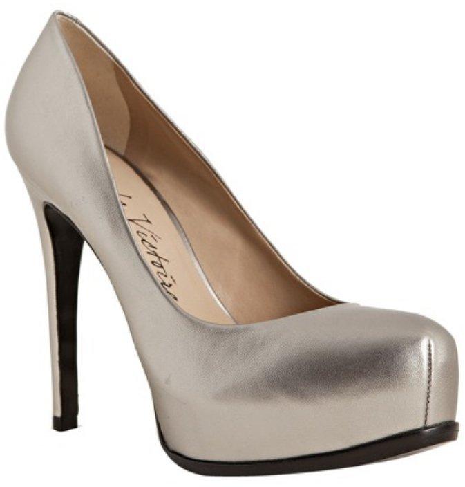 Pour la Victoire pewter metallic leather 'Irina' platform pumps