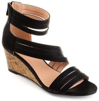 Co Brinley Collection Brinley Womens Strappy Faux Leather Faux Cork Wedges
