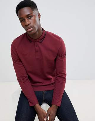 Asos DESIGN long sleeve pique polo shirt with tipping in burgundy