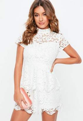 Missguided Petite White Short Sleeve Lace High Neck Dress
