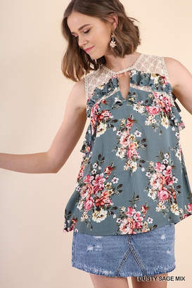 Umgee USA Dusty-Sage Floral Top