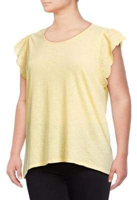 Style&Co. Style & Co. Plus Eyelet Flutter-Sleeve Top