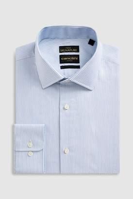 Next Mens Light Blue Signature Canclini Slim Fit Stripe Shirt
