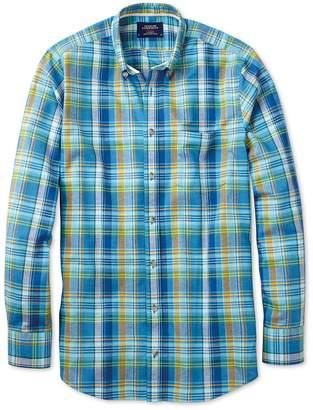 Charles Tyrwhitt Slim Fit Green and Blue Check Cotton/linen Casual Shirt Single Cuff Size Medium