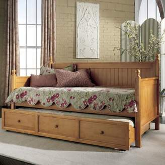 Leggett & Platt Casey Complete Wood Daybed with Ball Finials and Roll Out Trundle Drawer, Honey Maple Finish, Twin