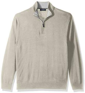 Nautica Men's Long Sleeve 1/4 Zip Solid Sweater with Suede Pull Detail