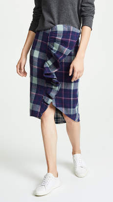 Natasha Zinko Plaid Frilled Pencil Skirt