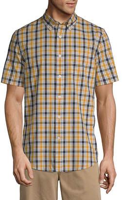 ST. JOHN'S BAY Mens Short Sleeve Gingham Button-Front Shirt