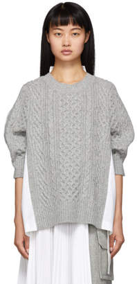 Sacai (サカイ) - Sacai グレー and ホワイト ニット ウール セーター