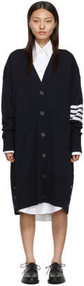 Thom Browne Navy 4-Bar Exaggerated V-Neck Cardigan