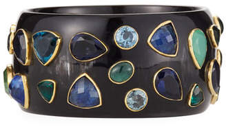 Ashley Pittman Dark Horn & Blue Stone Bangle