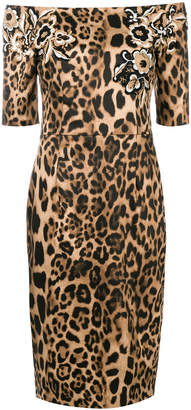 Clips off the shoulder leopard print dress