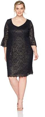 Alex Evenings Women's Plus-Size Short All Over Lace Dress with Bell Sleeves