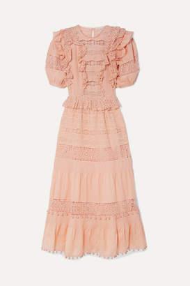 Ulla Johnson Guinivere Crochet-trimmed Broderie Anglaise Cotton-blend Maxi Dress - Peach