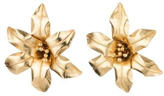 Josie Natori Brass Floral Earrings