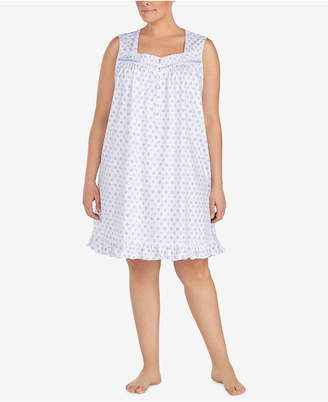 Eileen West Plus Size Ruffle-Hem Cotton Knit Nightgown