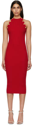 Balmain Red Buttoned Knit Dress