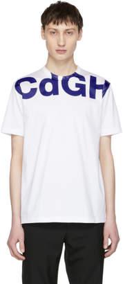 Comme des Garcons Homme Homme White and Blue CDGH Logo T-Shirt