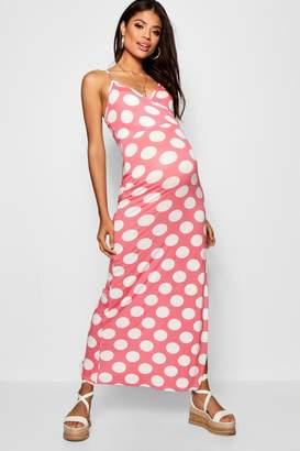 boohoo Maternity Polka Dot Wrap Front Maxi Dress