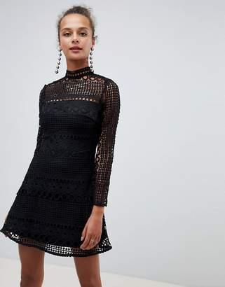 dc12a3cf89 High Neck Black Dress Sheer Sleeves - ShopStyle UK