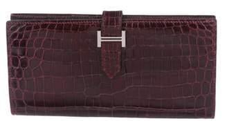 Hermes Shiny Porosus Bearn Wallet