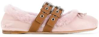 Miu Miu furry trim buckled ballerinas