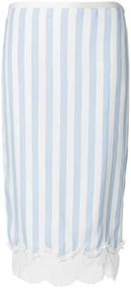 Rochas striped lace trim pencil skirt