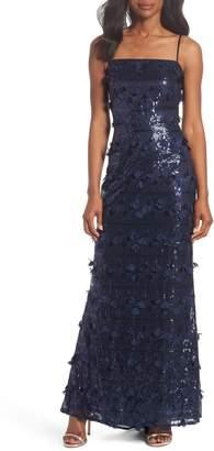 Eliza J Sequin Petal Spaghetti Strap Gown