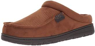 Dearfoams Men's Perforated Microsuede Clog Slipper - Padded Slip-ONS with Memory Foam Insole
