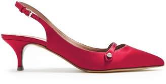 Tabitha Simmons Layton slingback kitten-heel satin pumps