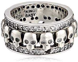King Baby Studio Wide Band with Skulls and Cubic Zirconia Ring