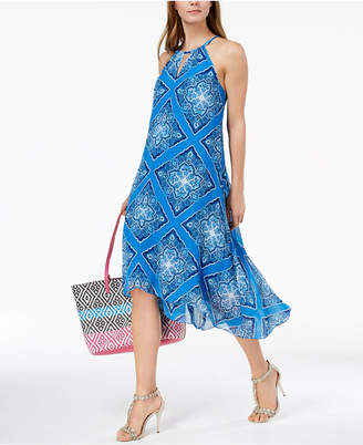 INC International Concepts I.N.C. Printed High-Low Halter Dress, Created for Macy's