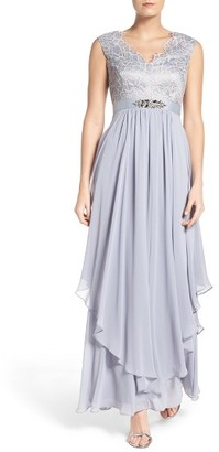 Women's Eliza J Embellished Lace & Chiffon Gown $248 thestylecure.com