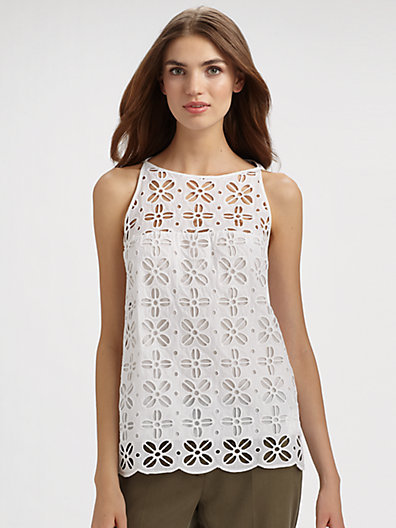 MILLY Morrison Eyelet Top