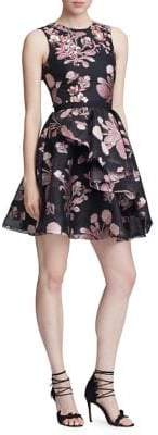 Marchesa Floral Beaded Embroidered Fit-&-Flare Dress