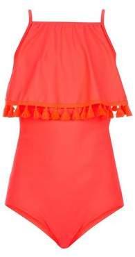 New Look Teens Coral Neon Tassel Trim Swimsuit