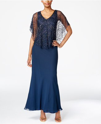 J Kara Beaded V-Neck Capelet Gown $269 thestylecure.com