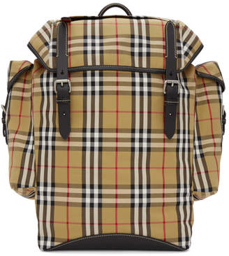 Burberry Beige and Black Ranger Check Backpack