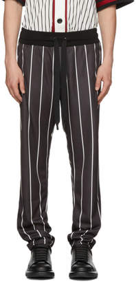 Dolce & Gabbana Black and White Striped Loose-Fit Trousers
