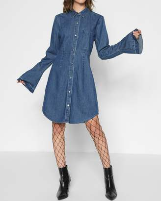 7 For All Mankind Bell Sleeve Denim Shirt Dress in Pico Blue
