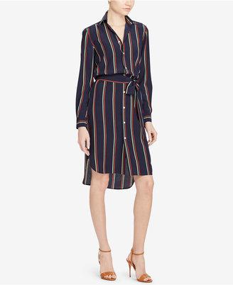 Polo Ralph Lauren Silk Striped Shirtdress $298 thestylecure.com