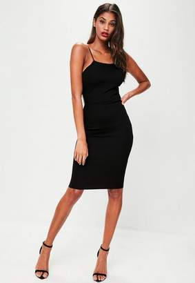 Missguided Black Crepe Strappy Cut Out Midi Dress