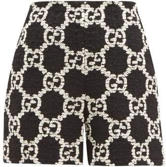 Gucci Gg Boucle Tweed Cotton Blend Shorts - Womens - Black White