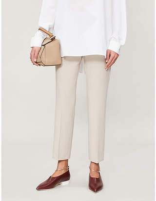 Max Mara Women's Beige Ostile Cropped Mid-Rise Slim-Fit Trousers