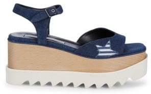 Stella McCartney Striped Star Wedge Sandals