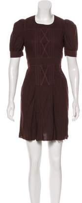 Miu Miu Short Sleeve Mini Dress Brown Short Sleeve Mini Dress