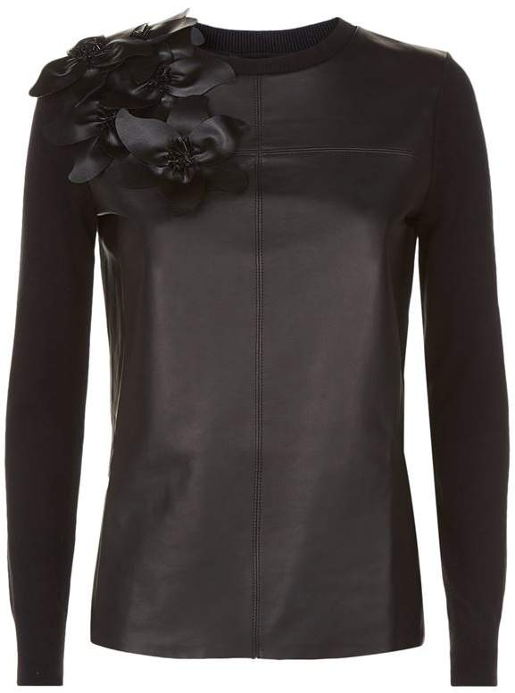 Fleuie Leather Front Flower Sweater