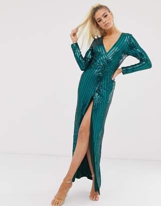 Club L London wrap sequin embellished wrap dress
